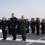 掃海母艦「ぶんご」艦上で行なわれた洋上慰霊についての様子 在日米海軍司令部Facebook