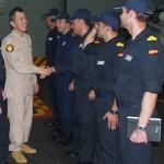第151連合任務部隊(CTF151)司令官の伊藤海将補 CTF465司令官表敬