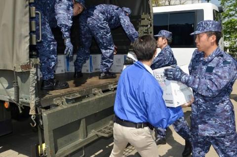 熊本地震への災害派遣(岩国)1