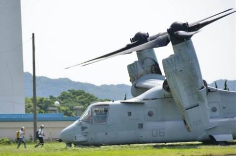 海上自衛隊 米海兵隊MV-22(オスプレイ) いずも発着艦訓練No2