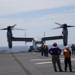 海上自衛隊 米海兵隊MV-22(オスプレイ) いずも発着艦訓練