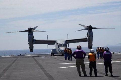 海上自衛隊 米海兵隊MV-22(オスプレイ) いずも発着艦訓練No6