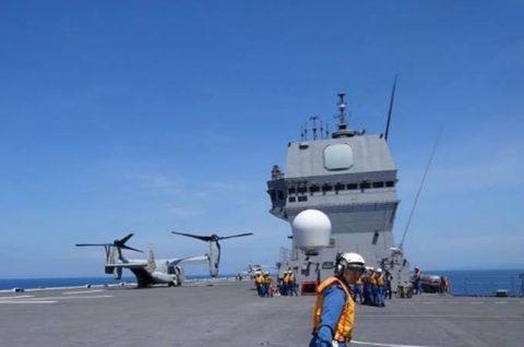 海上自衛隊 米海兵隊MV-22(オスプレイ) いずも発着艦訓練No7