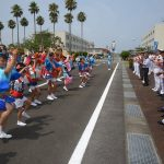 徳島教育航空群(徳島航空基地)「かもめ連」の阿波踊り出陣式と施設慰問