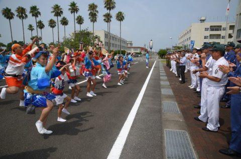 徳島教育航空群(徳島航空基地)「かもめ連」の阿波踊り出陣式と施設慰問2