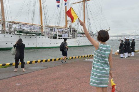 チリ海軍練習帆船「エスメラルダ」晴海ふ頭から出港No5