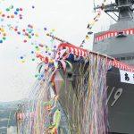 海上自衛隊(海自)潜水艦あさひ命名・進水式/三菱重工業長崎造船所