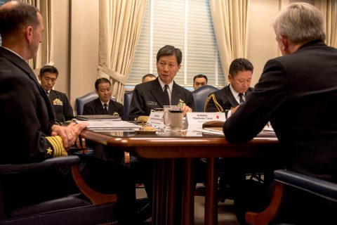 日米英3か国海軍種参謀長級会談(共同メッセージ)海上幕僚長武居智久海NO3