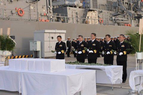 海上自衛隊 ソロモン諸島で収容された御遺骨の「戦没者遺骨引渡式」