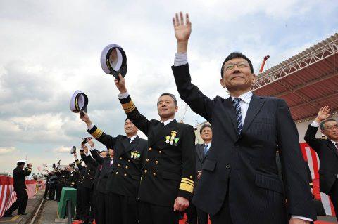 掃海艦あわじ 引渡式・自衛艦旗授与式 式典・公試 ・就役