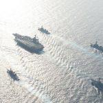 米海軍と日米共同巡航訓練の様子 米空母「カール・ヴィンソン」