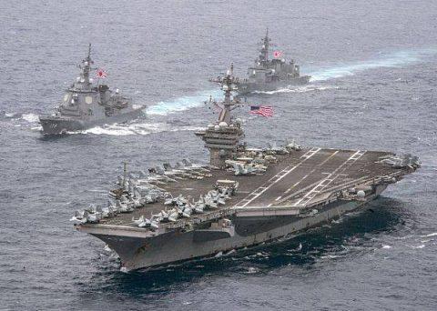 日米共同巡航訓練 米空母カール・ビンソン イージス艦あしがら